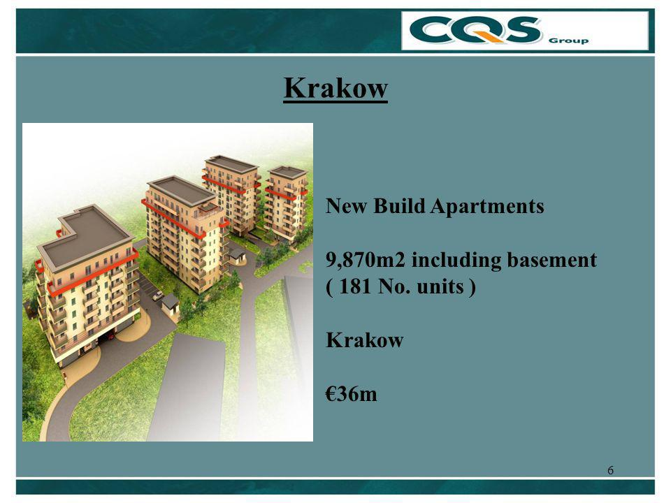 6 Krakow New Build Apartments 9,870m2 including basement ( 181 No. units ) Krakow 36m
