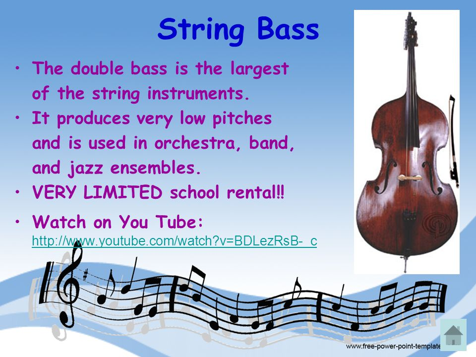 String Bass The double bass is the largest of the string instruments. It produces very low pitches and is used in orchestra, band, and jazz ensembles.