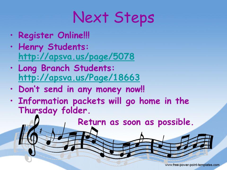 Next Steps Register Online!!.