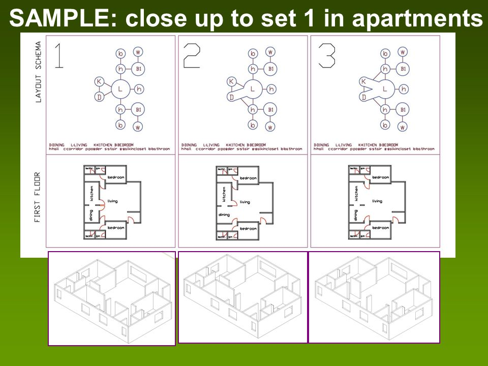 SAMPLE: close up to set 1 in apartments