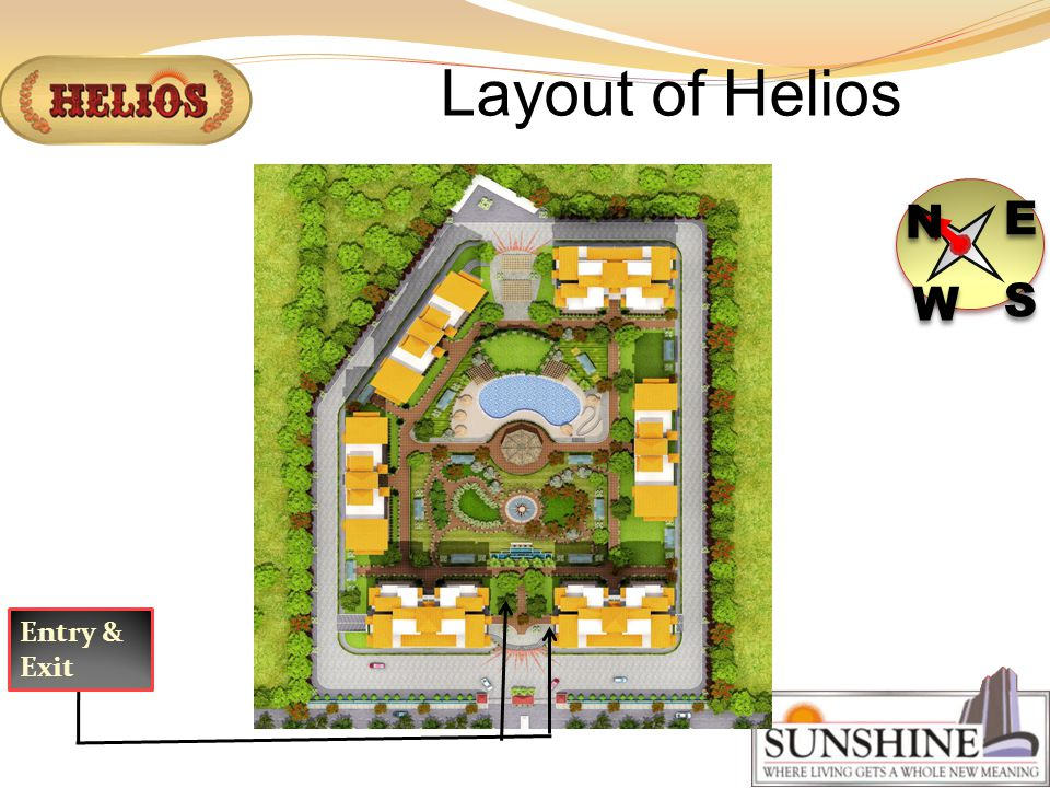 Layout of Helios N N E E S S W W Entry & Exit