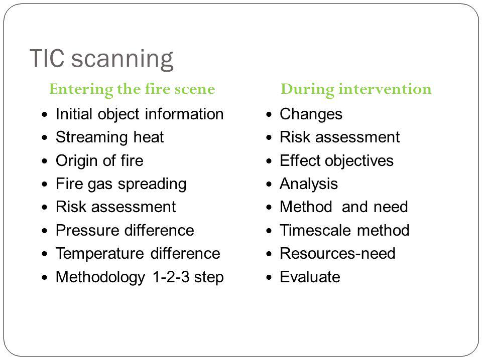 TIC scanning Entering the fire scene Initial object information Streaming heat Origin of fire Fire gas spreading Risk assessment Pressure difference Temperature difference Methodology 1-2-3 step During intervention Changes Risk assessment Effect objectives Analysis Method and need Timescale method Resources-need Evaluate