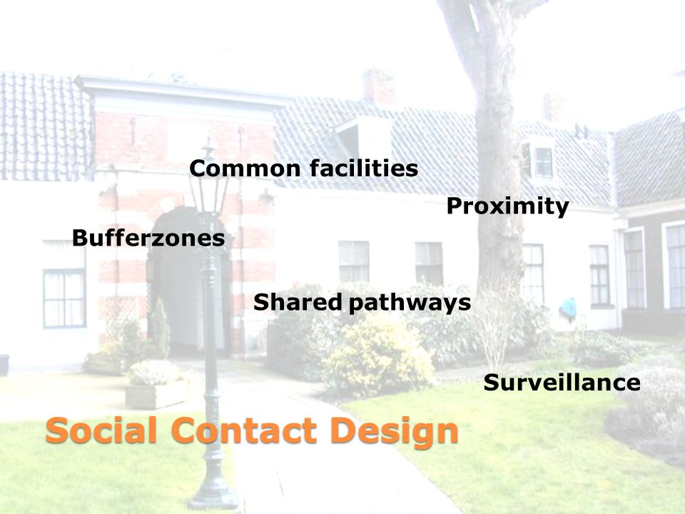 Social Contact Design Shared pathways Proximity Bufferzones Surveillance Common facilities