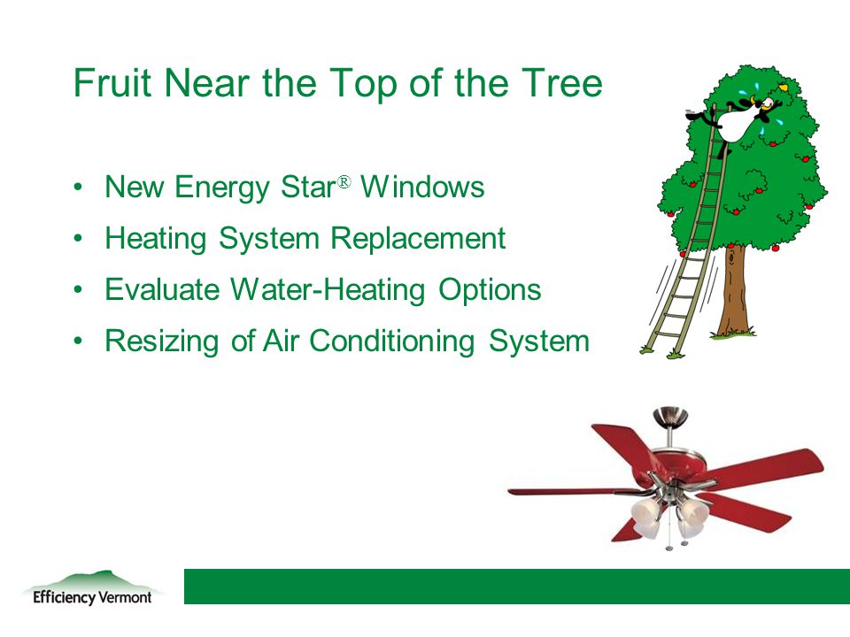 16 Fruit Near the Top of the Tree New Energy Star ® Windows Heating System Replacement Evaluate Water-Heating Options Resizing of Air Conditioning Sys