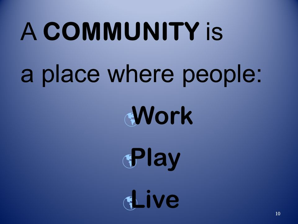 10 A COMMUNITY is a place where people: Work Play Live