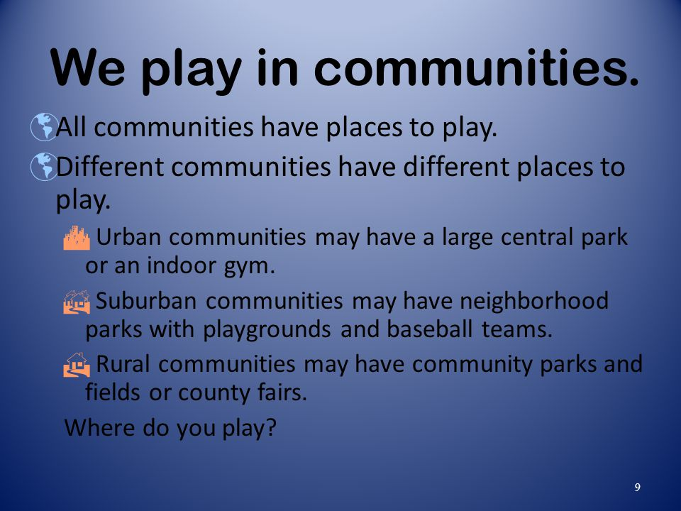 We play in communities. All communities have places to play.