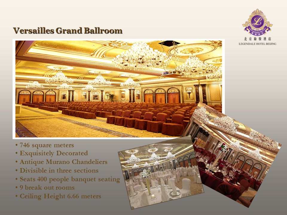 Versailles Grand Ballroom 746 square meters Exquisitely Decorated Antique Murano Chandeliers Divisible in three sections Seats 400 people banquet seat
