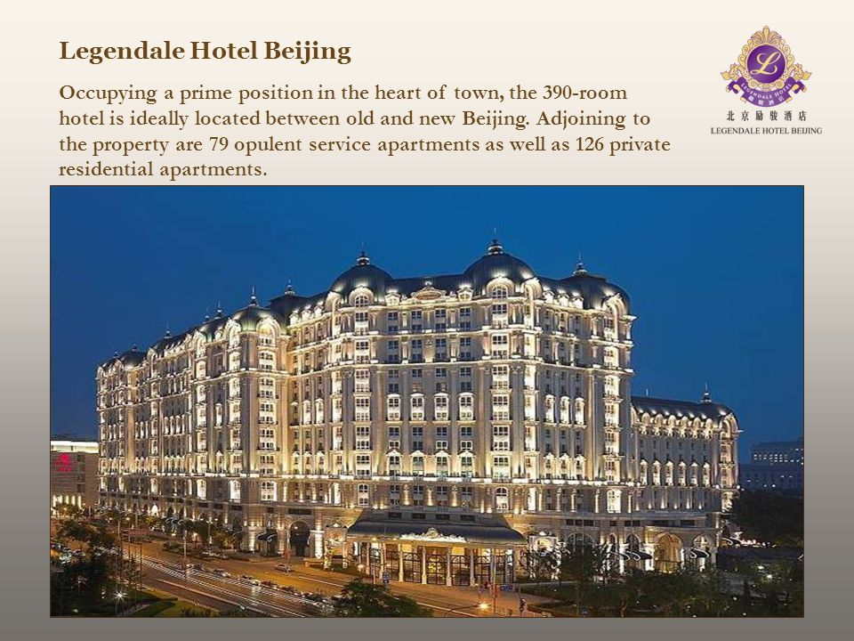 Legendale Hotel Beijing Occupying a prime position in the heart of town, the 390-room hotel is ideally located between old and new Beijing. Adjoining