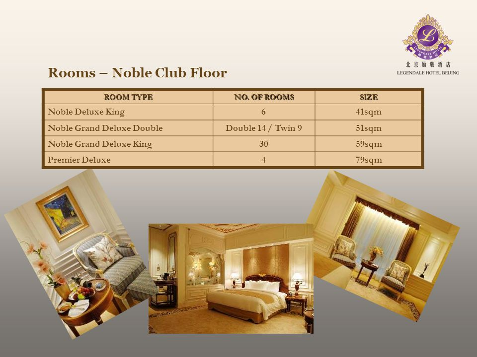 Rooms – Noble Club Floor ROOM TYPE NO. OF ROOMS SIZE Noble Deluxe King641sqm Noble Grand Deluxe DoubleDouble 14 / Twin 951sqm Noble Grand Deluxe King3