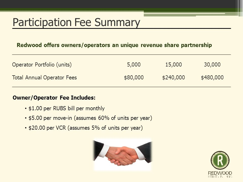 Operator Portfolio (units)5,00015,00030,000 Total Annual Operator Fees$80,000$240,000$480,000 Participation Fee Summary Owner/Operator Fee Includes: $1.00 per RUBS bill per monthly $5.00 per move-in (assumes 60% of units per year) $20.00 per VCR (assumes 5% of units per year) Redwood offers owners/operators an unique revenue share partnership