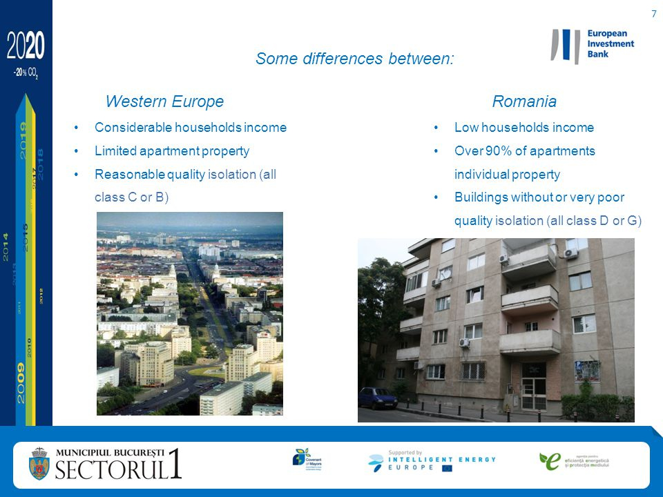 7 Some differences between: Western Europe Considerable households income Limited apartment property Reasonable quality isolation (all class C or B) Romania Low households income Over 90% of apartments individual property Buildings without or very poor quality isolation (all class D or G)