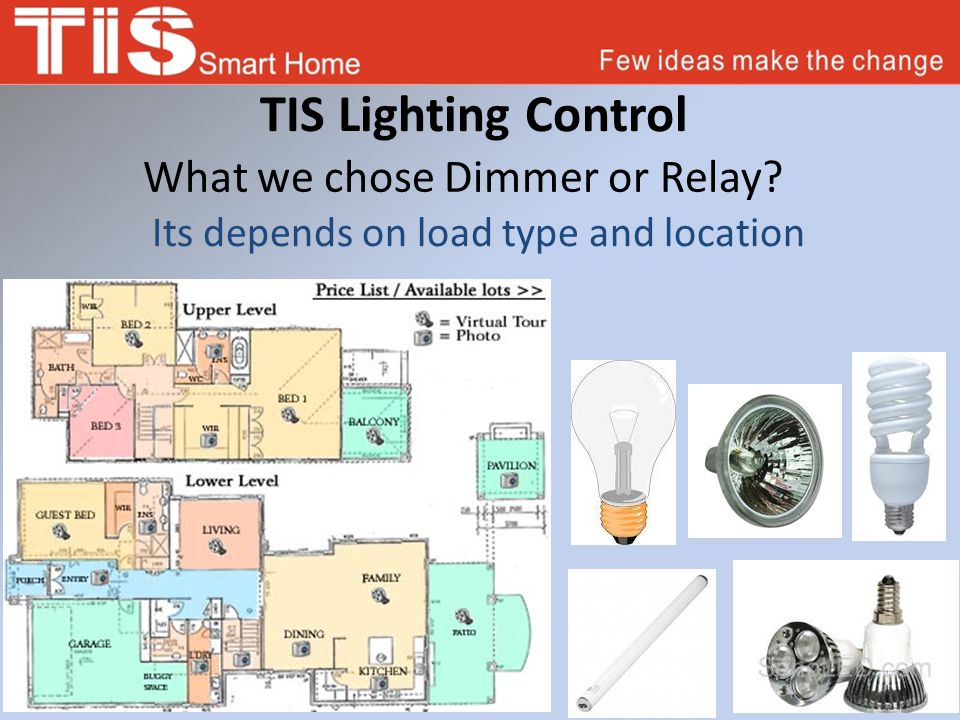 TIS Lighting Control What we chose Dimmer or Relay? Its depends on load type and location