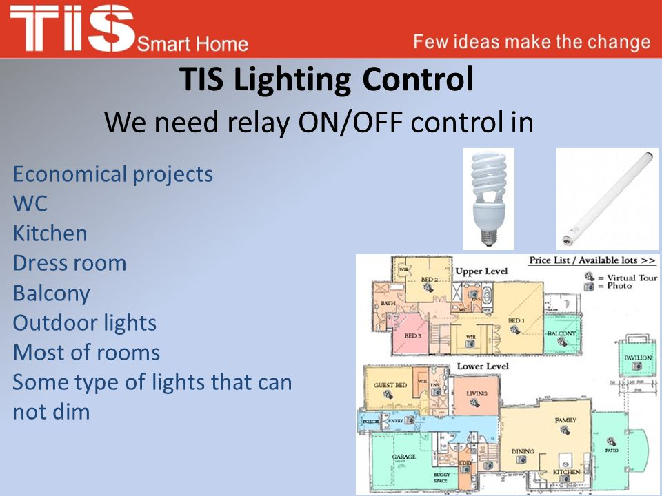 TIS Lighting Control We need relay ON/OFF control in Economical projects WC Kitchen Dress room Balcony Outdoor lights Most of rooms Some type of light