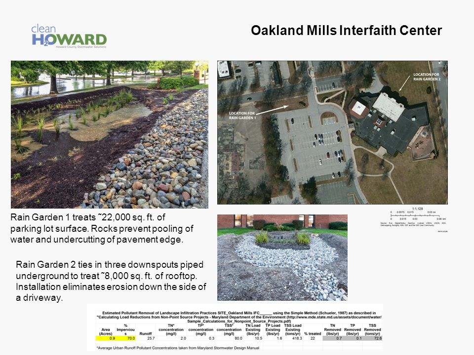 Oakland Mills Interfaith Center Rain Garden 1 treats ˜22,000 sq. ft. of parking lot surface. Rocks prevent pooling of water and undercutting of paveme