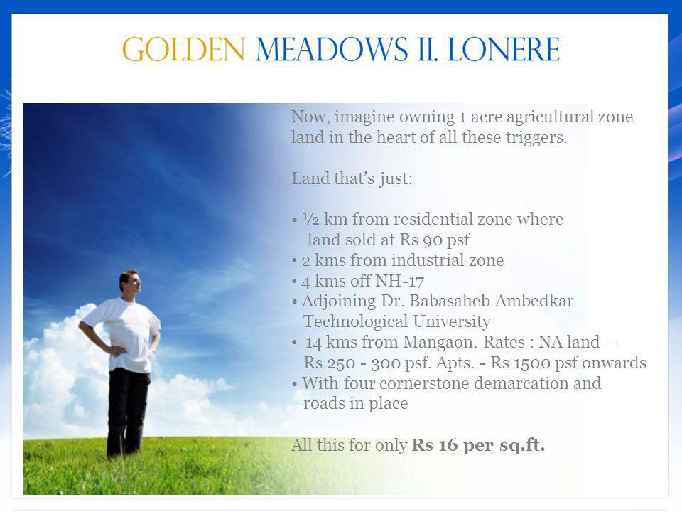 Now, imagine owning 1 acre agricultural zone land in the heart of all these triggers.