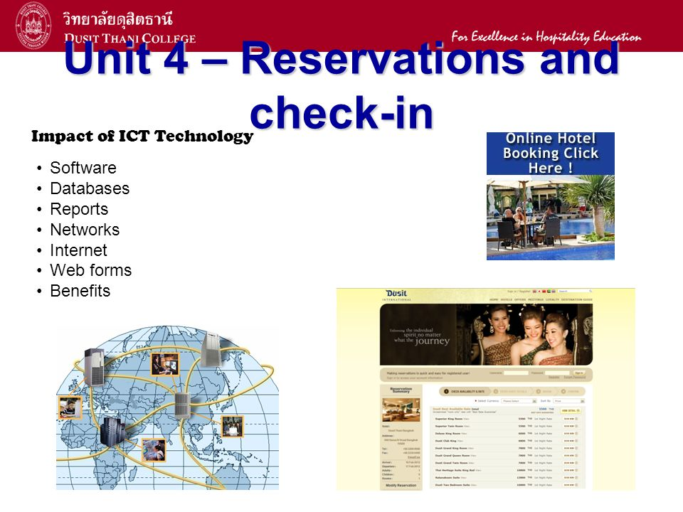 13 Unit 4 – Reservations and check-in Impact of ICT Technology Software Databases Reports Networks Internet Web forms Benefits
