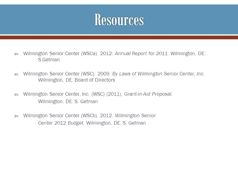 Wilmington Senior Center (WSCa) Annual Report for