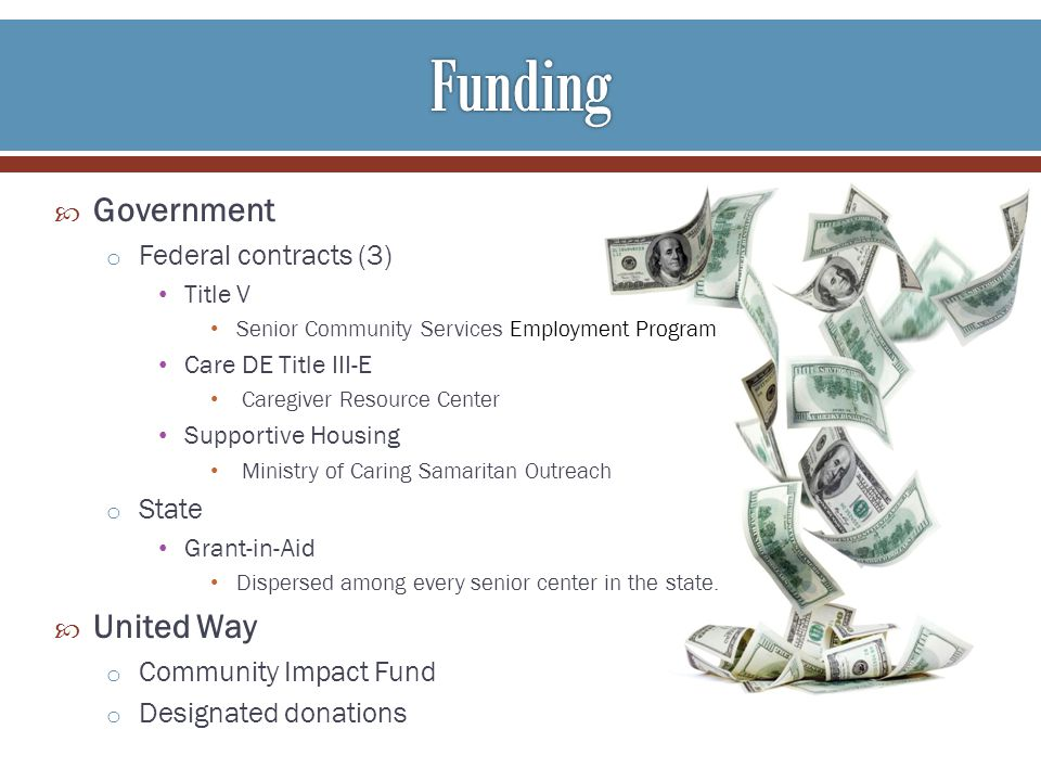 Government o Federal contracts (3) Title V Senior Community Services Employment Program Care DE Title III-E Caregiver Resource Center Supportive Housing Ministry of Caring Samaritan Outreach o State Grant-in-Aid Dispersed among every senior center in the state.