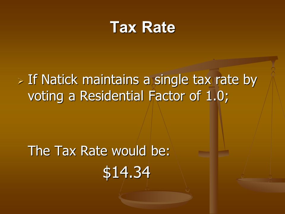 Tax Rate If Natick maintains a single tax rate by voting a Residential Factor of 1.0; If Natick maintains a single tax rate by voting a Residential Factor of 1.0; The Tax Rate would be: $14.34