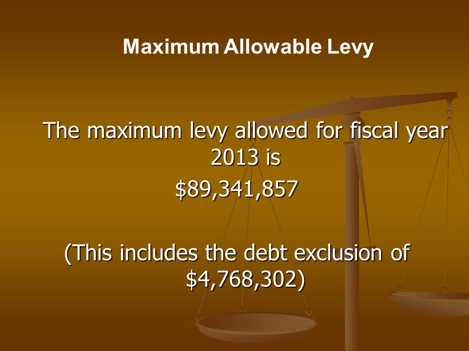 Levy Limit Calculation TO CALCULATE THE FY2013 LEVY LIMIT A.