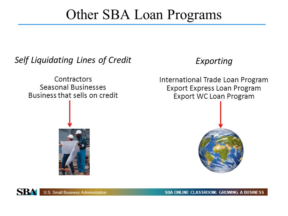 SBA ONLINE CLASSROOM: GROWING A BUSINESSU.S. Small Business Administration Other SBA Loan Programs Self Liquidating Lines of Credit Contractors Season