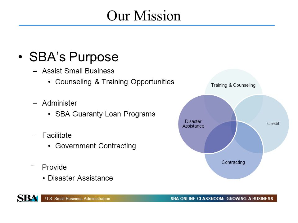 SBA ONLINE CLASSROOM: GROWING A BUSINESSU.S. Small Business Administration Our Mission SBAs Purpose –Assist Small Business Counseling & Training Oppor
