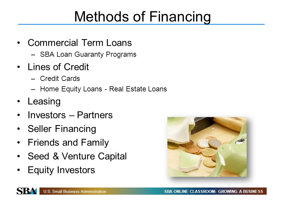 SBA ONLINE CLASSROOM: GROWING A BUSINESSU.S. Small Business Administration Commercial Term Loans –SBA Loan Guaranty Programs Lines of Credit –Credit C