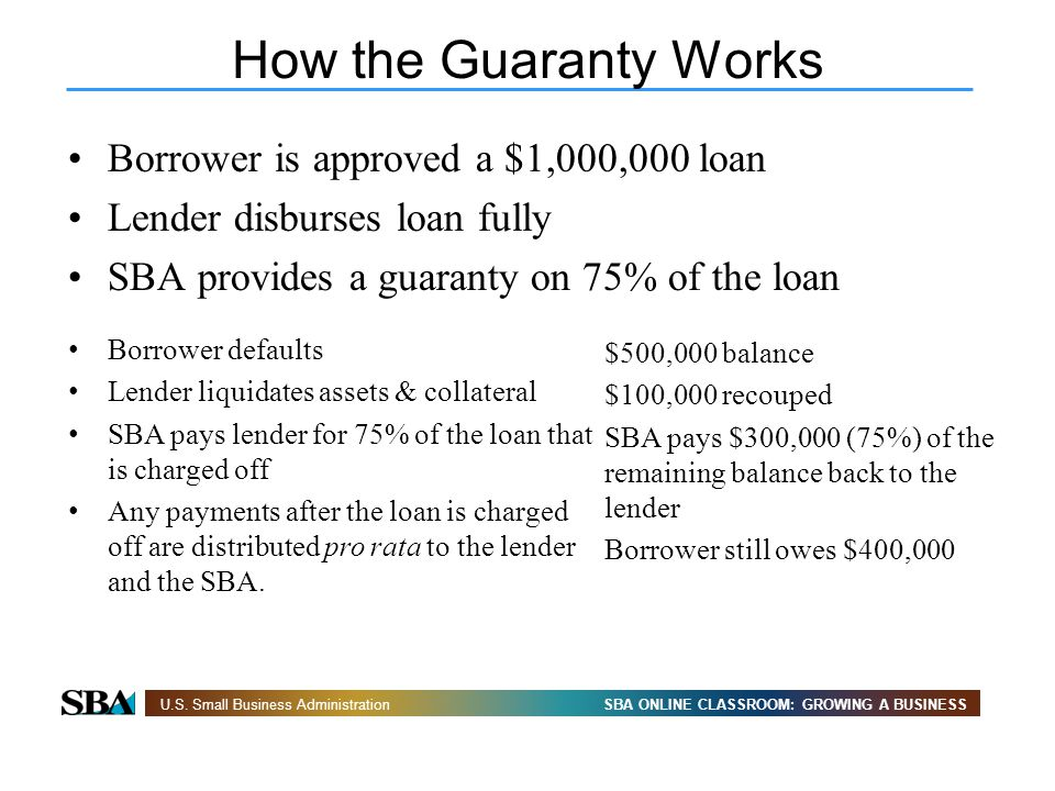 SBA ONLINE CLASSROOM: GROWING A BUSINESSU.S. Small Business Administration How the Guaranty Works Borrower is approved a $1,000,000 loan Lender disbur