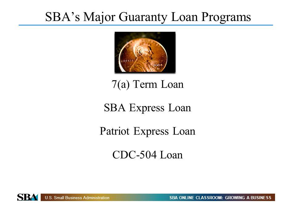SBA ONLINE CLASSROOM: GROWING A BUSINESSU.S. Small Business Administration SBAs Major Guaranty Loan Programs 7(a) Term Loan SBA Express Loan Patriot E