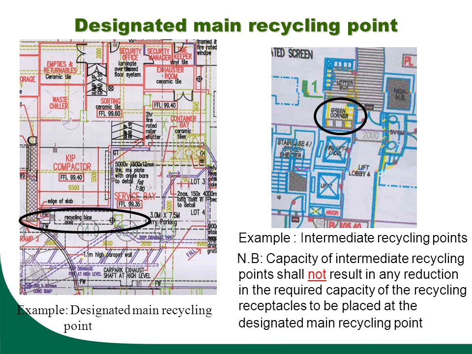 Example : Intermediate recycling points N.B: Capacity of intermediate recycling points shall not result in any reduction in the required capacity of t