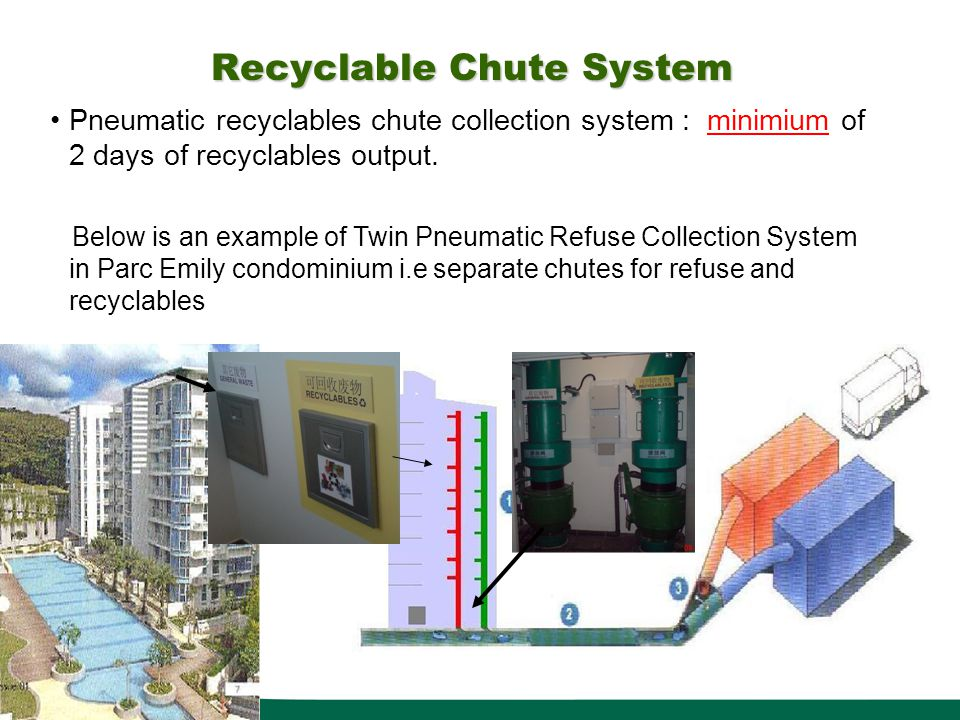 Recyclable Chute System Pneumatic recyclables chute collection system : minimium of 2 days of recyclables output. Below is an example of Twin Pneumati