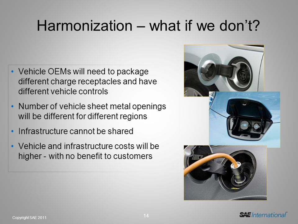 14 Copyright SAE 2011 Harmonization – what if we dont? Vehicle OEMs will need to package different charge receptacles and have different vehicle contr