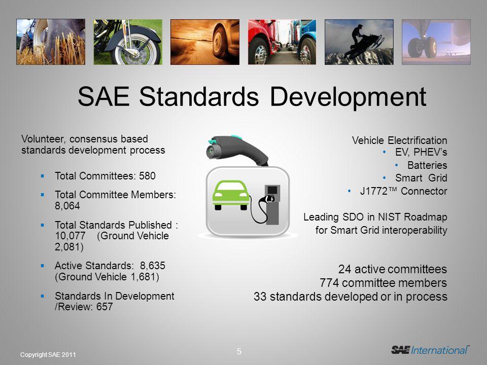 5 Copyright SAE 2011 SAE Standards Development Volunteer, consensus based standards development process Total Committees: 580 Total Committee Members: