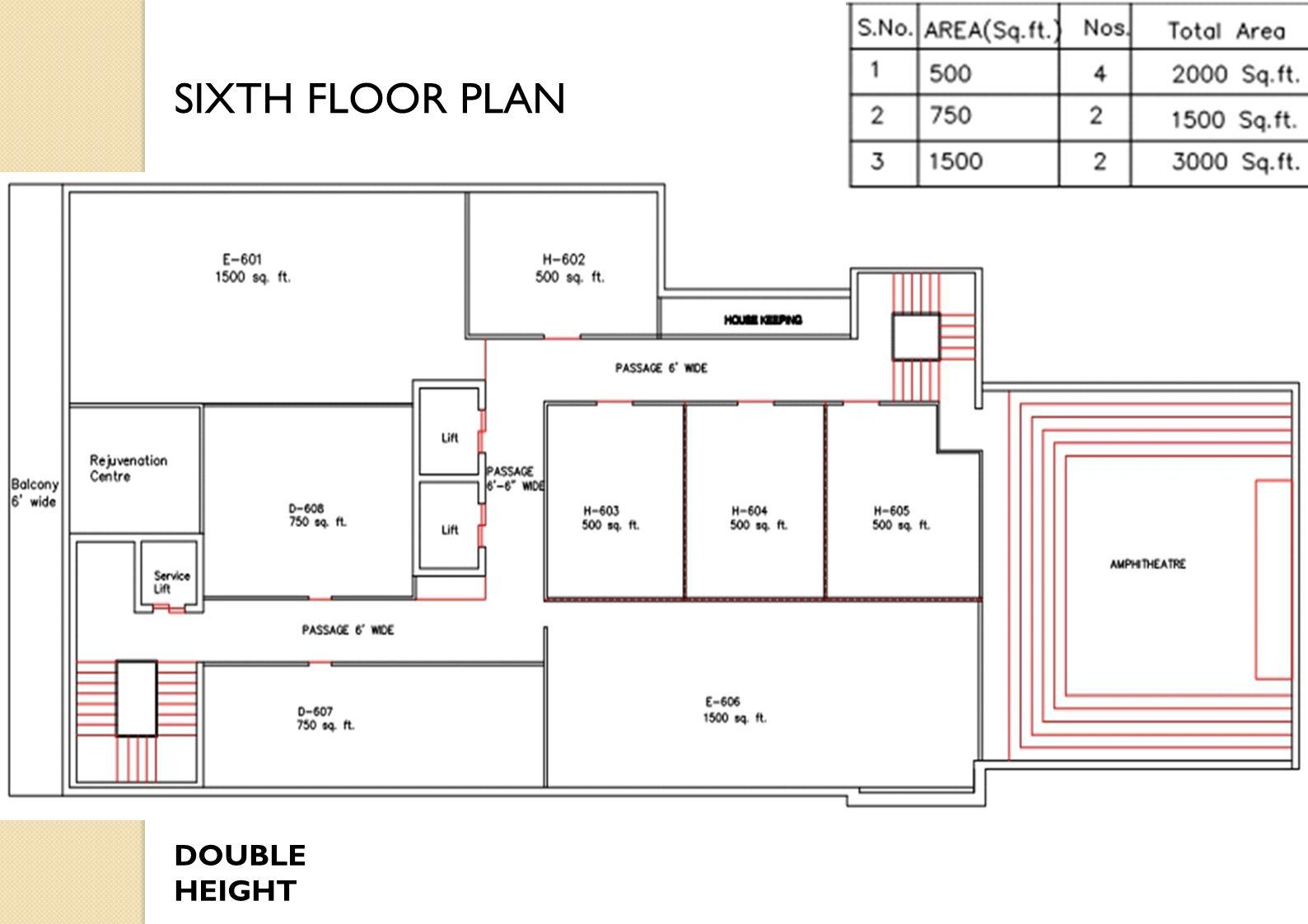 DOUBLE HEIGHT SIXTH FLOOR PLAN