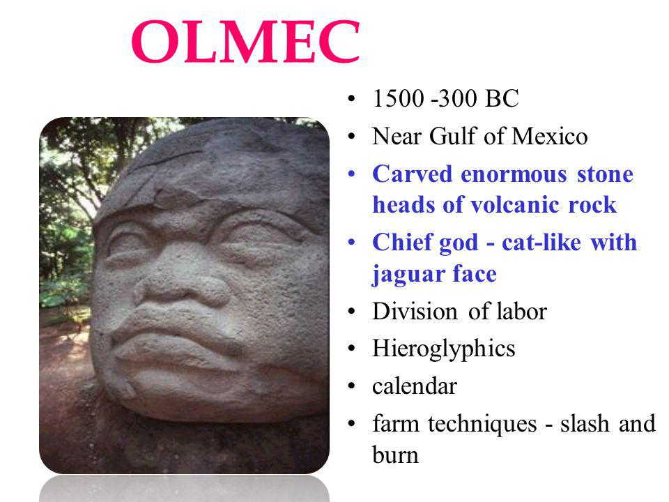 OLMEC 1500 -300 BC Near Gulf of Mexico Carved enormous stone heads of volcanic rock Chief god - cat-like with jaguar face Division of labor Hieroglyph
