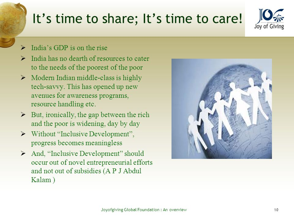 Its time to share; Its time to care.
