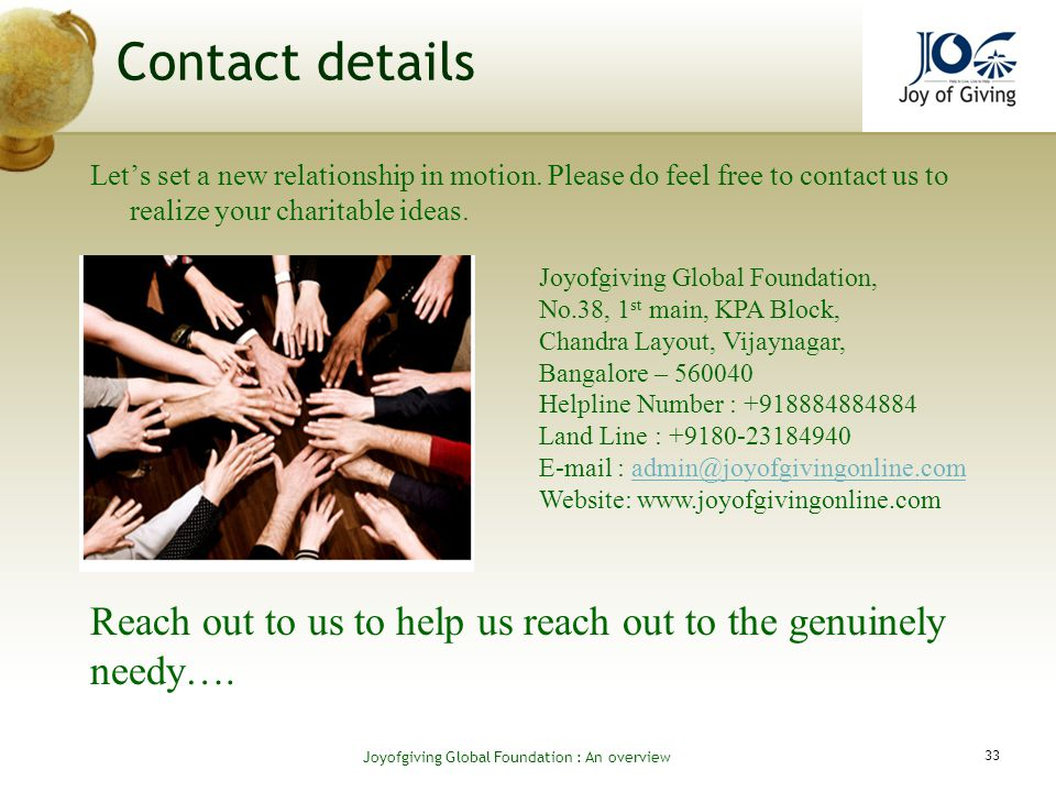 Contact details Lets set a new relationship in motion.