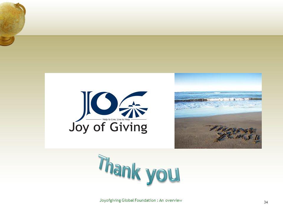 34 Joyofgiving Global Foundation : An overvie w