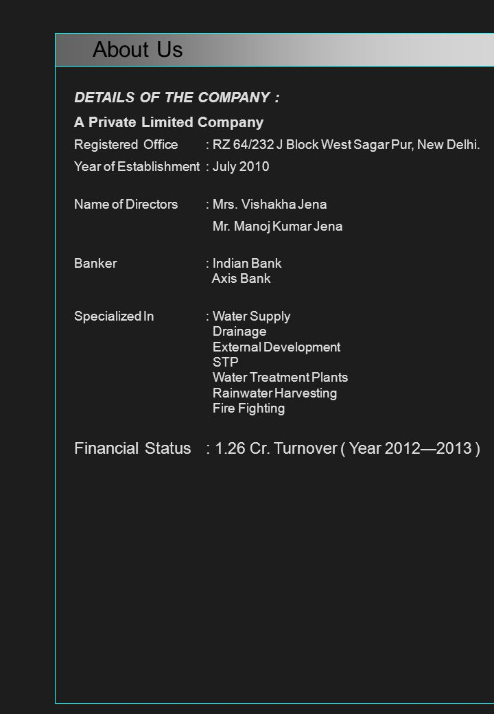 DETAILS OF THE COMPANY : A Private Limited Company Registered Office: RZ 64/232 J Block West Sagar Pur, New Delhi. Year of Establishment: July 2010 Na