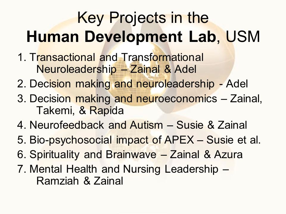 Key Projects in the Human Development Lab, USM 1.