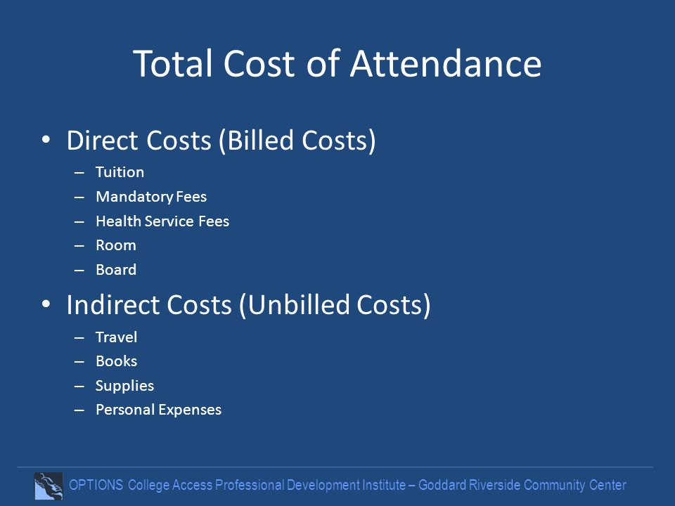 OPTIONS College Access Professional Development Institute – Goddard Riverside Community Center Total Cost of Attendance Direct Costs (Billed Costs) –