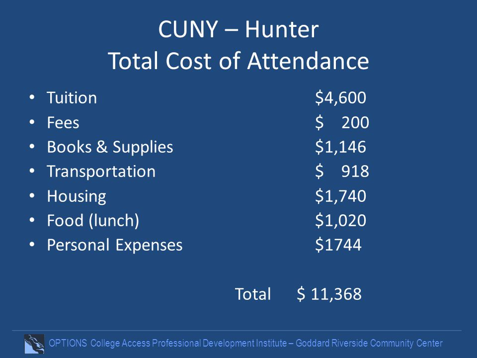 OPTIONS College Access Professional Development Institute – Goddard Riverside Community Center CUNY – Hunter Total Cost of Attendance Tuition$4,600 Fe