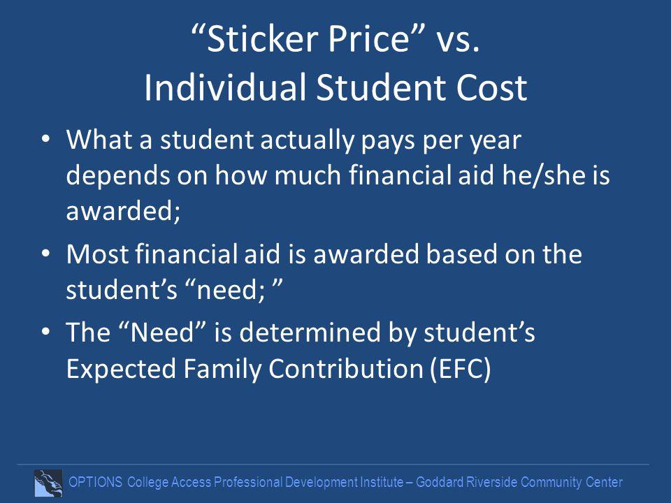 OPTIONS College Access Professional Development Institute – Goddard Riverside Community Center Sticker Price vs.