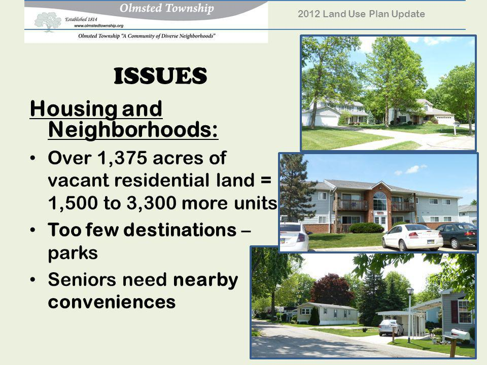 ISSUES Housing and Neighborhoods: Over 1,375 acres of vacant residential land = 1,500 to 3,300 more units Too few destinations – parks Seniors need nearby conveniences 2012 Land Use Plan Update 26