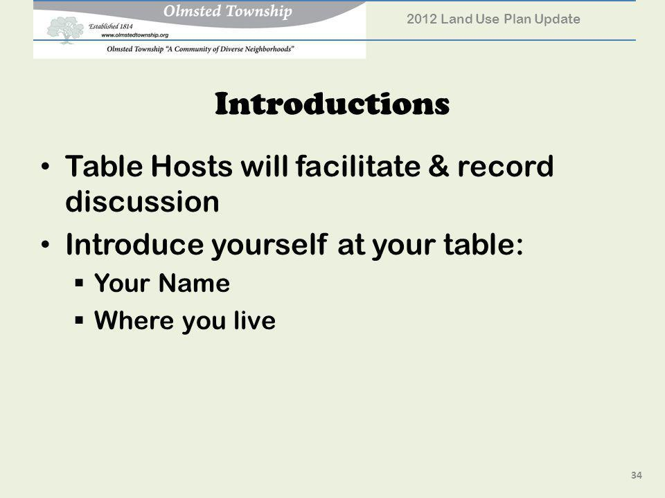 Introductions Table Hosts will facilitate & record discussion Introduce yourself at your table: Your Name Where you live 34 2012 Land Use Plan Update