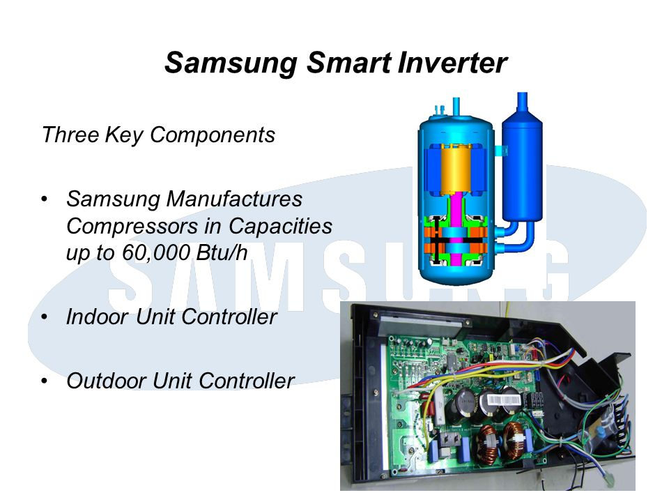 Samsung Smart Inverter Three Key Components Samsung Manufactures Compressors in Capacities up to 60,000 Btu/h Indoor Unit Controller Outdoor Unit Cont
