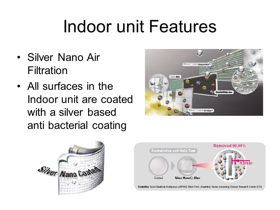 Indoor unit Features Silver Nano Air Filtration All surfaces in the Indoor unit are coated with a silver based anti bacterial coating