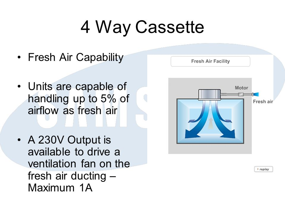 4 Way Cassette Fresh Air Capability Units are capable of handling up to 5% of airflow as fresh air A 230V Output is available to drive a ventilation fan on the fresh air ducting – Maximum 1A
