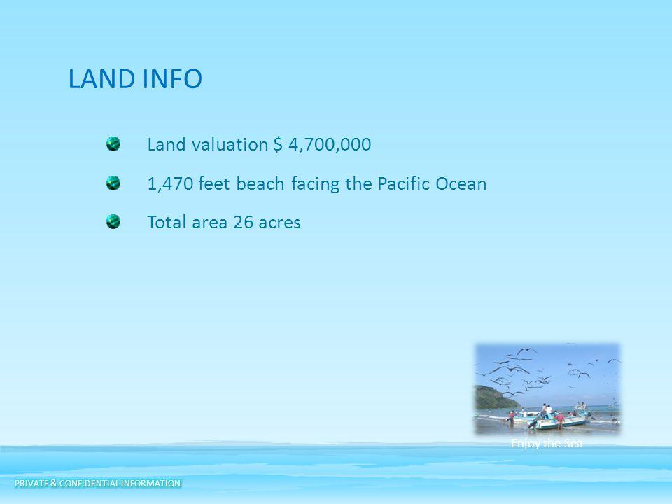 LAND INFO Land valuation $ 4,700,000 1,470 feet beach facing the Pacific Ocean Total area 26 acres Enjoy the Sea