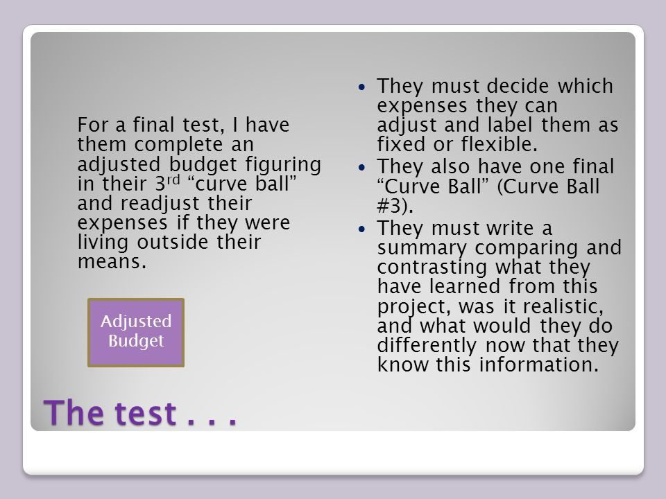 The test... For a final test, I have them complete an adjusted budget figuring in their 3 rd curve ball and readjust their expenses if they were livin